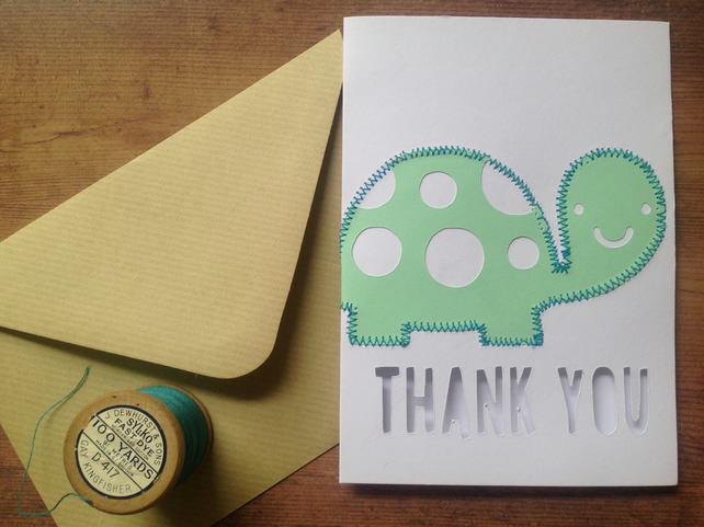 Thank you card personalised turtle sheep
