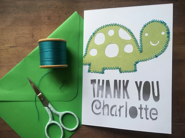 Thank you card personalised turtle or unicorn card