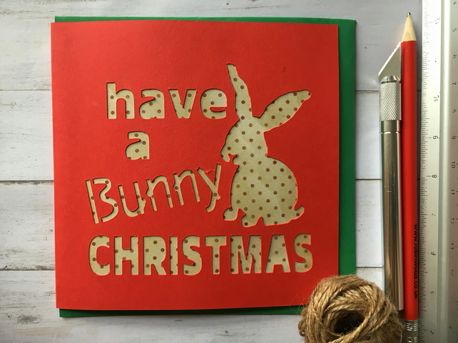 Christmas card bunny rabbit