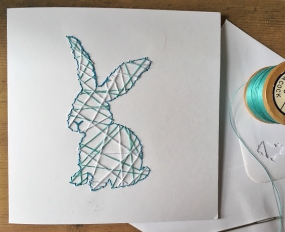 String Art bunny rabbit card for country living
