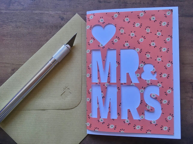 Mr & Mrs wedding card personalised