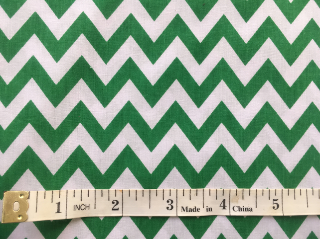 Fat quarter chevron geometric green and white poly cotton