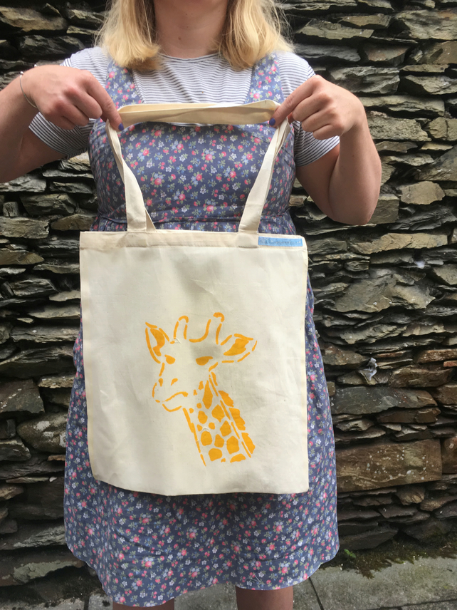 Evil giraffe screen print tote bag