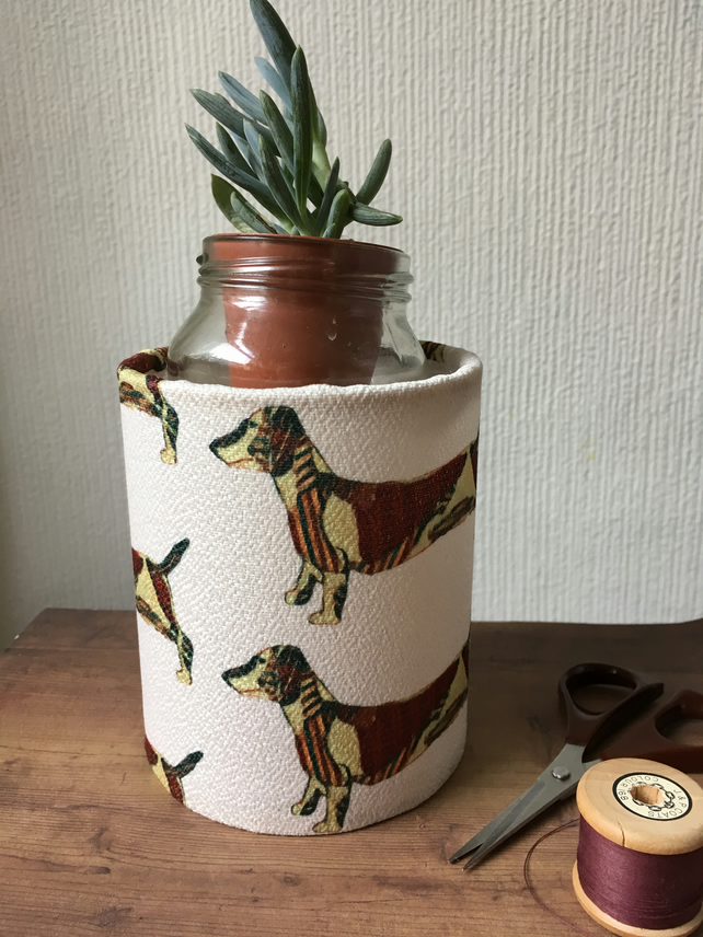 Sausage dog craft storage pot or vase