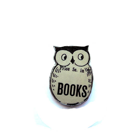 Whimsical Literary Owl Brooch by EllyMental