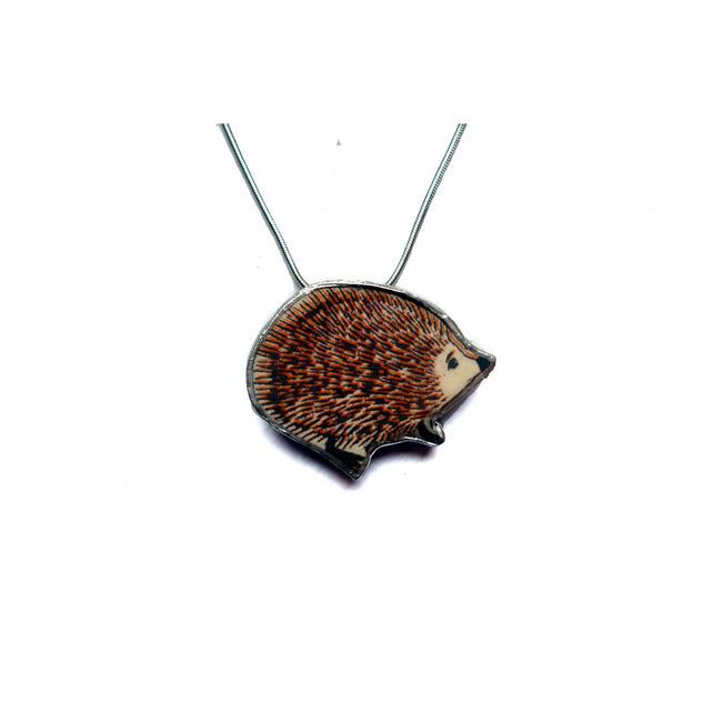 Brown Hedgehog whimsical resin Necklace by EllyMental Jewellery