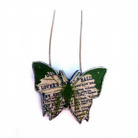 Beautiful green butterfly resin necklace by EllyMental