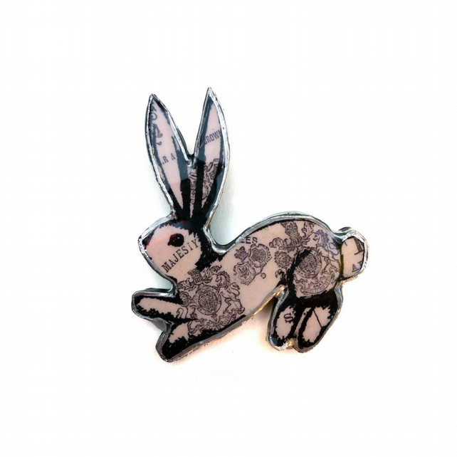 Whimsical regal patterned resin Rabbit Brooch EllyMental