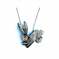 Whimsical regal patterned resin Rabbit Necklace EllyMental