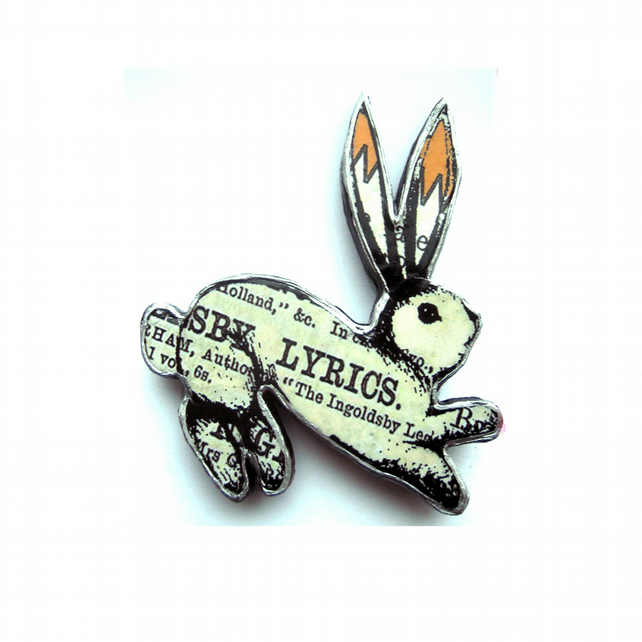 Victorian Lyrics Resin Rabbit Brooch by EllyMental
