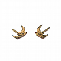 Swallow Bird Rockabilly Mini Ear Studs Whimsical resin Jewellery by EllyMental