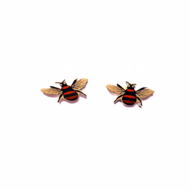 Queen Bee Mini Ear Studs Whimsical resin Jewellery by EllyMental