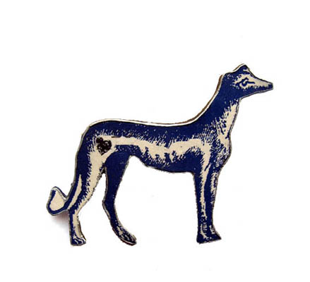 Wonderfully Whimsical  Blue Greyhound Dog Brooch by EllyMental