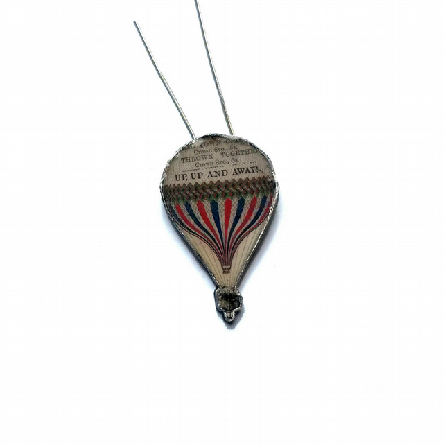 Resin Victoriana Hot Air Balloon Literary Necklace by EllyMental