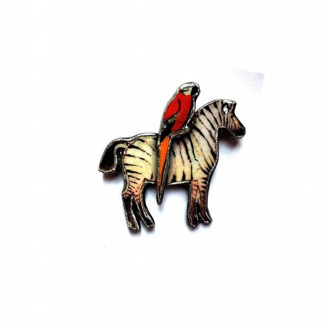 Quirky Whimsical Zebra & Parrot Brooch by EllyMental