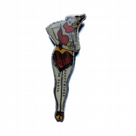 Show Girl Rockabilly Burlesque Brooch by EllyMental