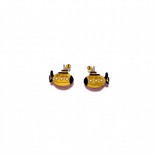 Yellow Submarine Beatles Mini Ear Studs resin Jewellery by EllyMental