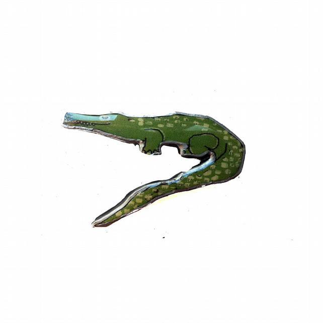 Whimsical Green crocodile Resin Brooch by EllyMental
