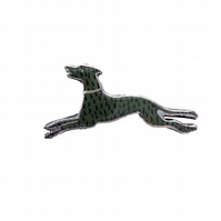 Whimsical Resin Art Deco style Moss Green Dog Brooch by EllyMental