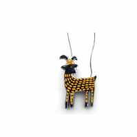 Whimsical Yellow Goat Scandi Necklace by EllyMental