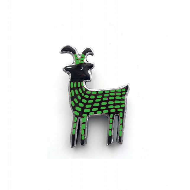 Whimsical Green Elk Scandi Resin Brooch by EllyMental