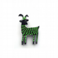 Whimsical Green Goat Scandi Resin Brooch by EllyMental