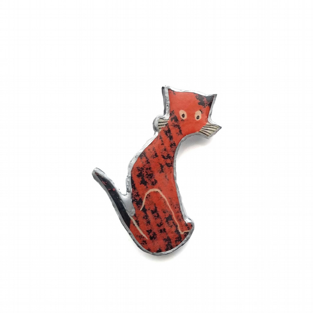 Whimsical Red Folk Cat Resin Brooch by EllyMental