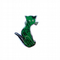 Whimsical Green Folk Cat Resin Brooch by EllyMental