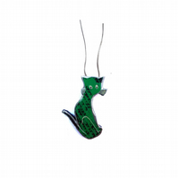 Whimsical Green Folk Cat Resin Necklace by EllyMental