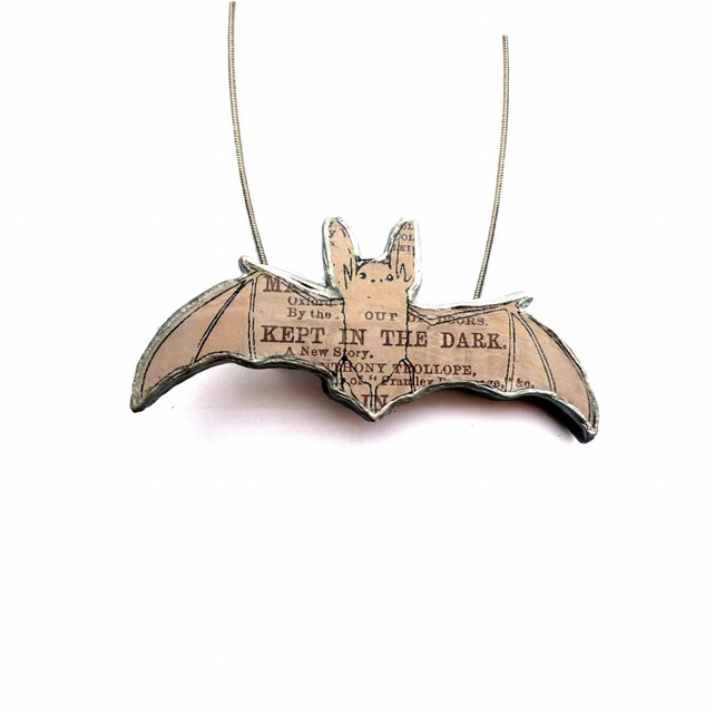 Whimsical resin Grey Bat Necklace by EllyMental