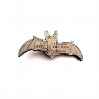 Whimsical resin Grey Bat Brooch by EllyMental