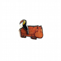 Quirky Resin Hippo & Toucan Brooch by EllyMental