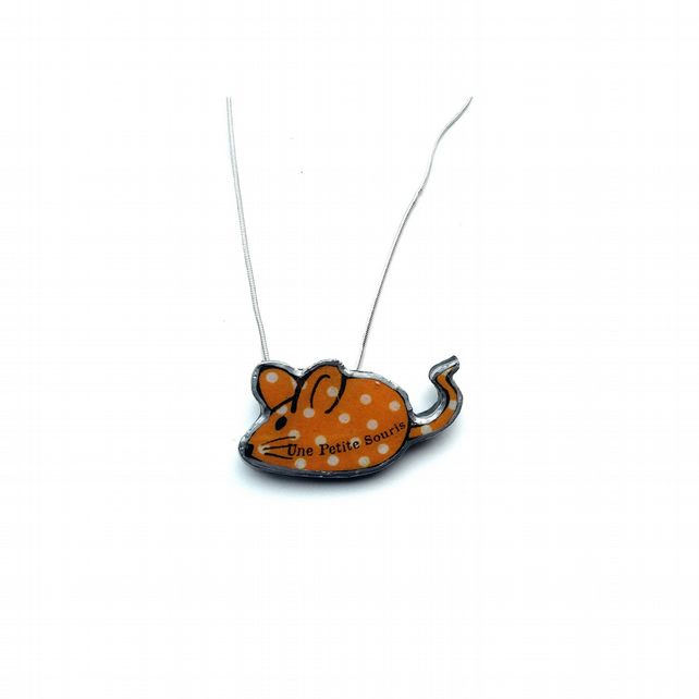 Whimsical Resin Little Orange French Mouse Necklace by EllyMental