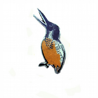 Kingfisher Bird Resin Brooch literary whimsical style by EllyMental Jewellery