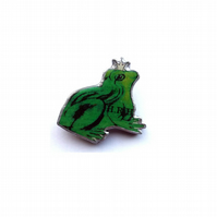 Green Frog Prince whimsical Resin Brooch by EllyMental Jewellery