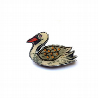Whimsical Her Majesty Swan Brooch by EllyMental