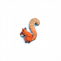 Whimsical Thrift Squirrel Brooch by EllyMental Jewellery