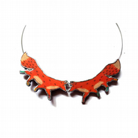 Pair Woodland Foxes Orange resin necklace by EllyMental Jewellery