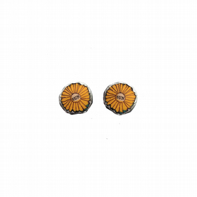 Whimsical Sunflower Yellow  Resin Ear Studs by EllyMental