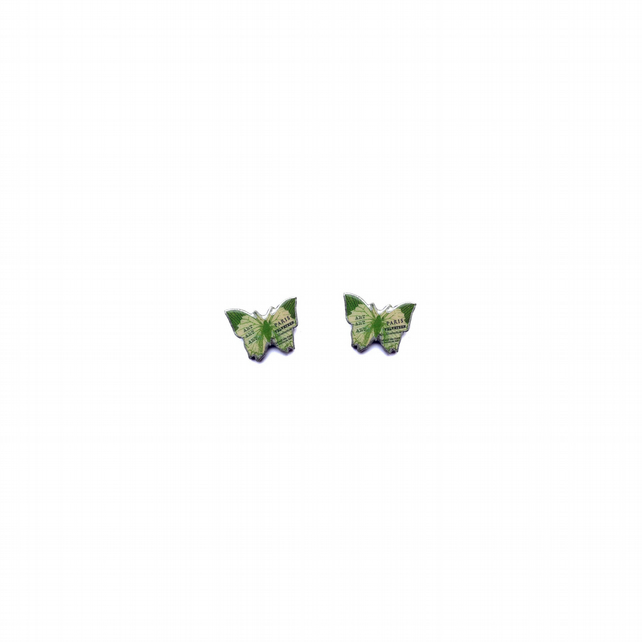 Green Literary Butterfly Ear Studs resin Jewellery by EllyMental