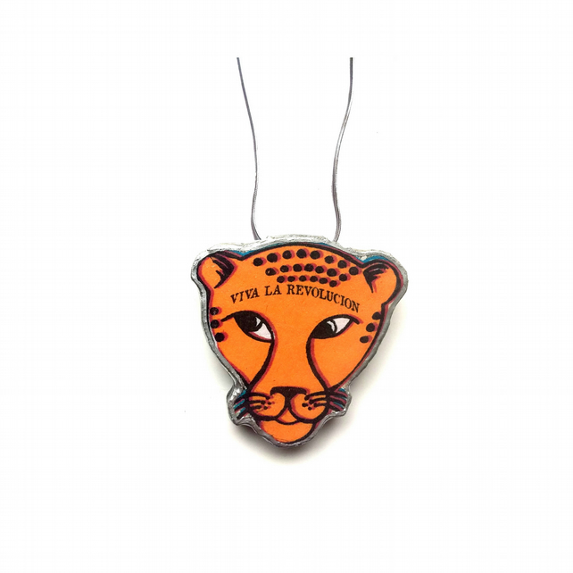 Orange Viva La Revolucion Leopard resin necklace by EllyMental