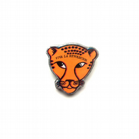 Orange Viva La Revolucion Leopard resin Brooch by EllyMental