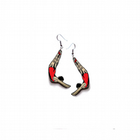 Wonderfully whimsical Resin Red Diver Earrings by EllyMental