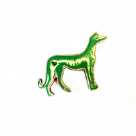 Wonderfully Whimsical  Green Greyhound Dog Brooch by EllyMental