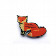 Whimsical woodland Resin Sitting Fox Brooch by EllyMental