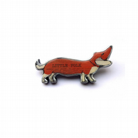 Sausage Dog Dachshund Resin Brooch Literary by EllyMental Jewellery