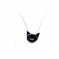 Little Black Cat whimsical resin Necklace by EllyMental Jewellery