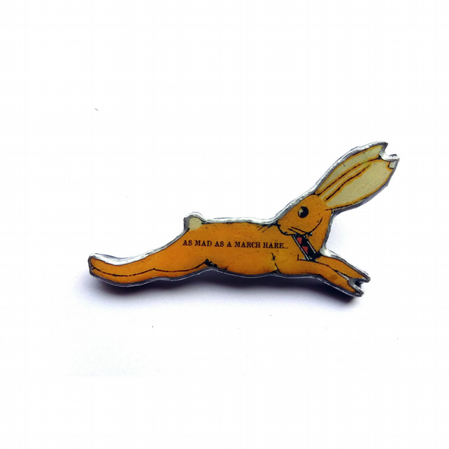 Alice in Wonderland March Hare Resin Brooch by EllyMental