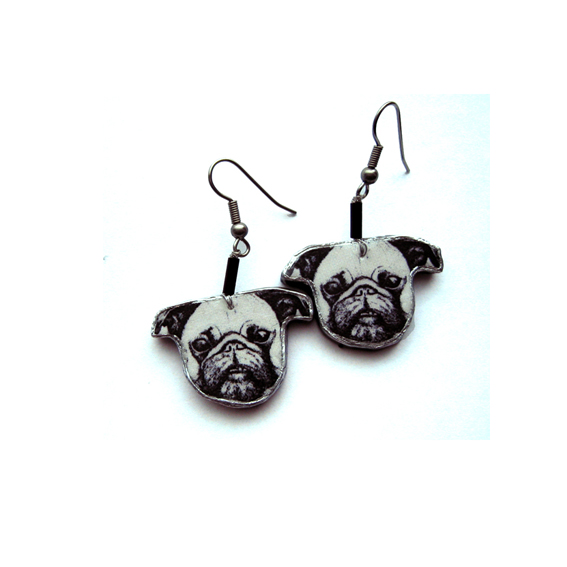 Whimsical Pug Dog Resin Earrings by EllyMental