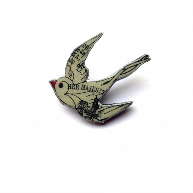 Swallow Bird resin Brooch literary vintage by EllyMental